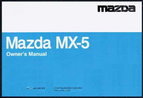 Mazda MX-5 NB 08/2000 Owners Manual