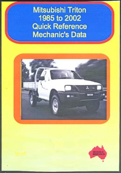 Mitsubishi Triton : Quick Reference Mechanics Data 1985 To 2002 - Front Cover