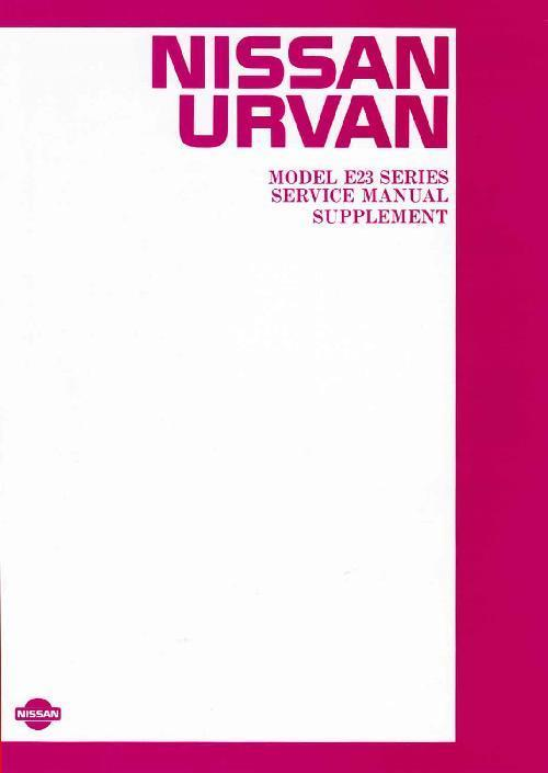 Nissan Urvan E23 Series 1983 Factory Service & Repair Manual Supplement - Front Cover