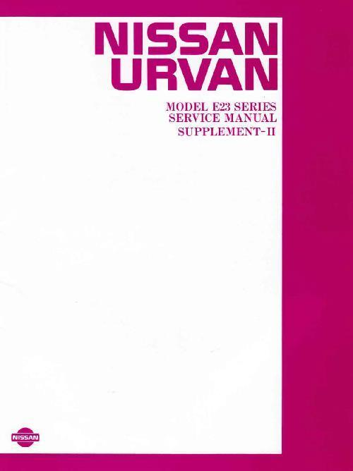 Nissan Urvan E23 Series 1985 Service & Repair Manual Supplement 2 - Front Cover