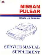 Nissan Pulsar N12 & ET 1986 Series 3 Factory Service & Repair Manual Supplement - Front Cover