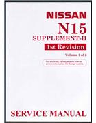 Nissan Pulsar N15 1998 on Factory Workshop Manual Supplement