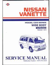 Nissan Nomad/Vanette C22 Series Wide Body 1987 Factory Service Manual