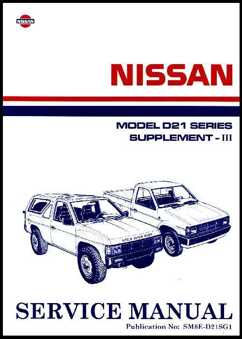Nissan Navara D21 Pickup 1987 Factory Workshop Manual Supplement 3 - Front Cover
