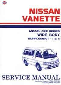 Nissan C22 Vanette Wide Body 1990 Factory Repair Manual Supplement