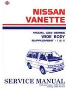 Nissan C22 Vanette Wide Body 1990 Factory Repair Manual Supplement - Front Cover