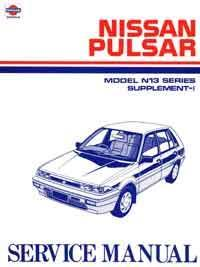 Nissan Pulsar N13 Series 1989 Facelift Factory Service Repair Manual Supplement - Front Cover
