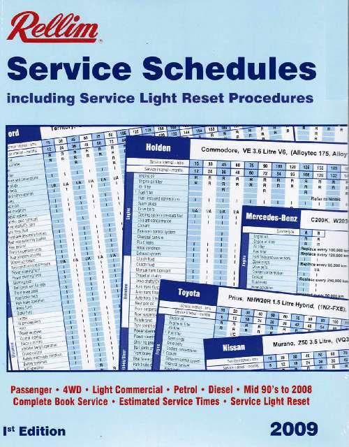Rellim Service Schedules 2009 - Front Cover